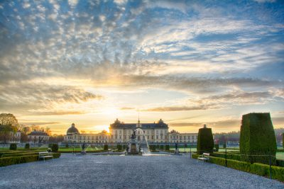 Sunrise at Drottningholm palace very early on a May morning