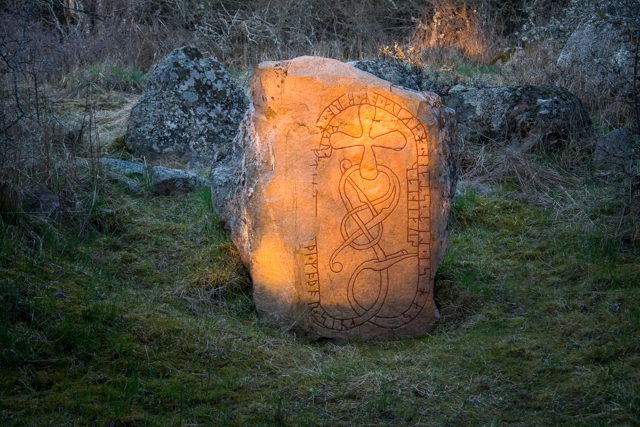Runestone in Törnby, Färingsö, Sweden. This one was made in the Viking ages.
