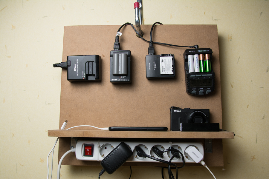 Home made camera battery charging station